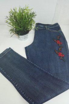 Jeans Bordado tallas grandes flor corazon xl
