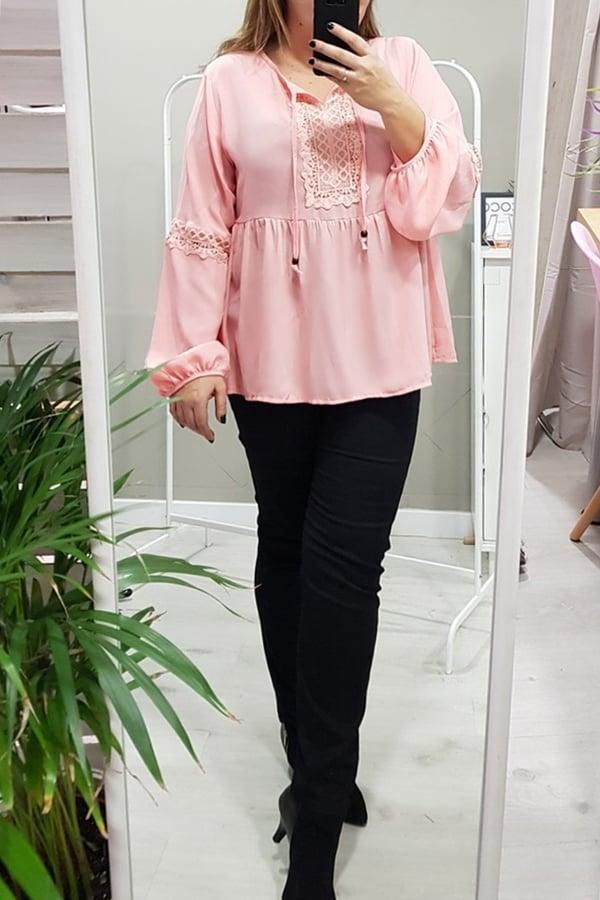 Blusa rosa tallas grandes