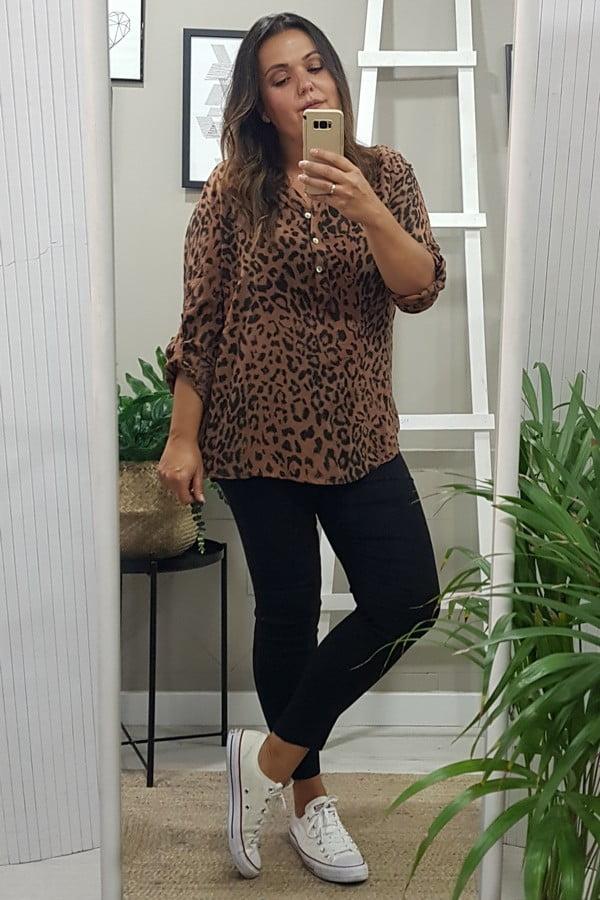 blusa leopardo tallas grandes