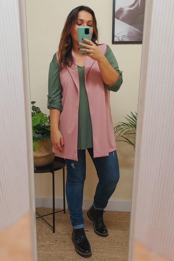 chaleco rosa tallas grandes