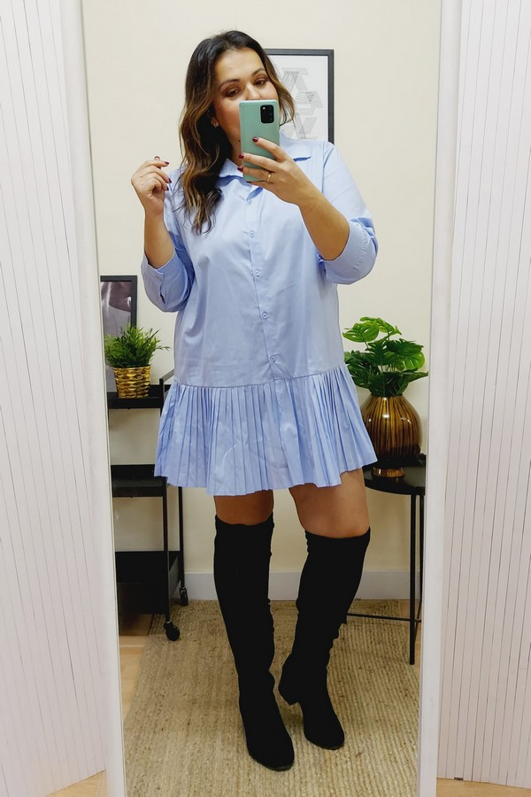 Vestido Camisero Plisado Azul