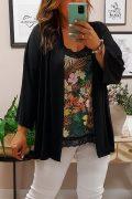 Kimono Punto Manga Negro