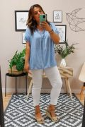 Blusa Encaje Lavada Azul