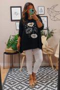 Camiseta Larga Kiss Negro