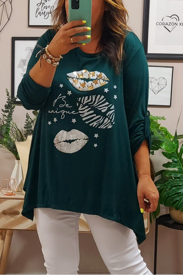 Camiseta Larga Kiss Verde