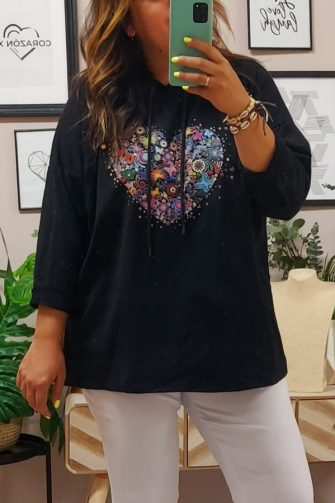 Sudadera Negra Corazon