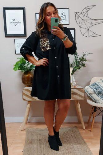 Vestido Camisero Print Negro