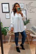 Blusa Encaje Desgaste Blanca