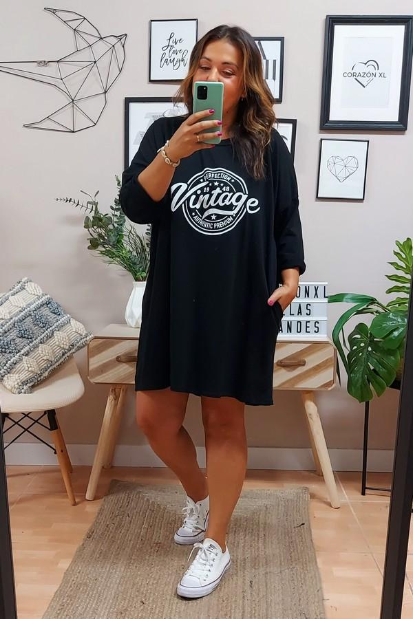 Vestido Vintage Plus Negro