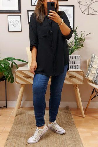 Camisa Larga Basic Negra