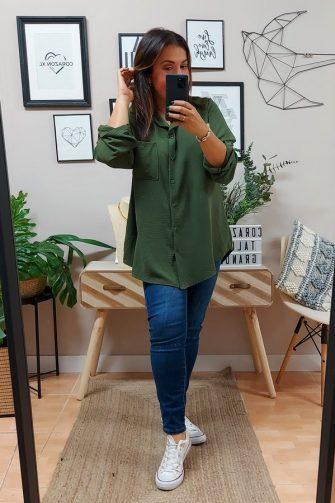 Camisa Larga Basic Kaki
