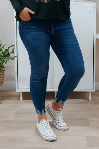 Jeans Desgaste Azul Tobillero